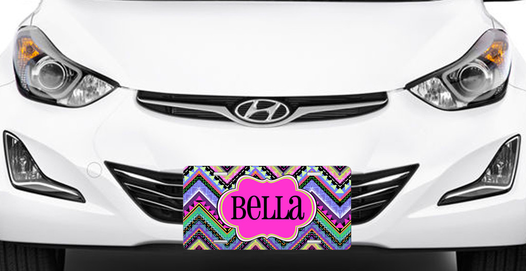 Hip Chevrons Front License Plate, Custom License Plate, Personalized License Plate