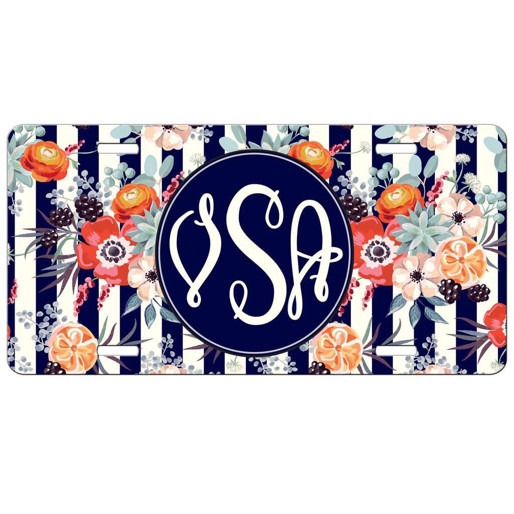 Flowers Stripes Front License Plate, Custom License Plate, Personalized License Plate