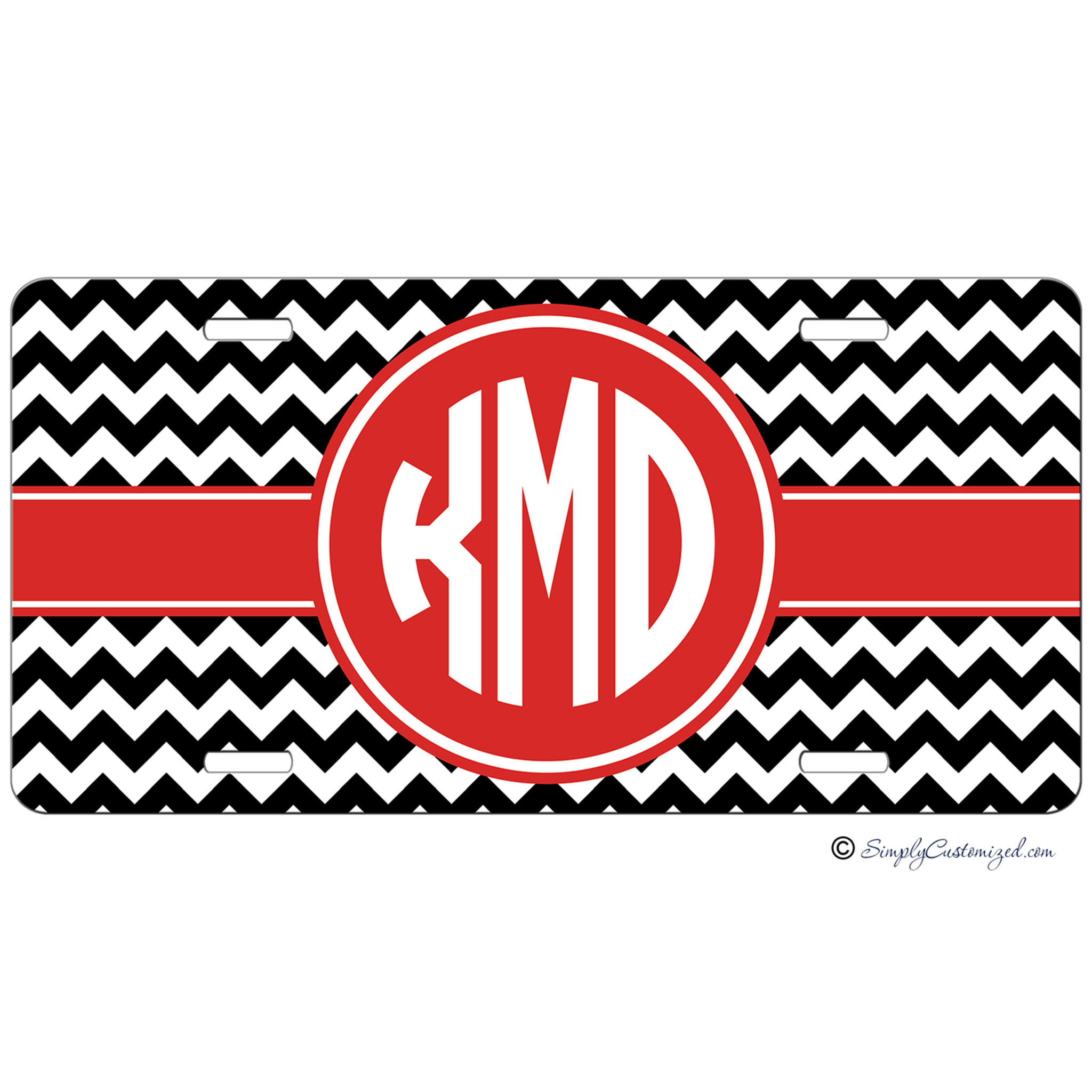 Monogrammed Car Tag Black Chevron With Red Accent