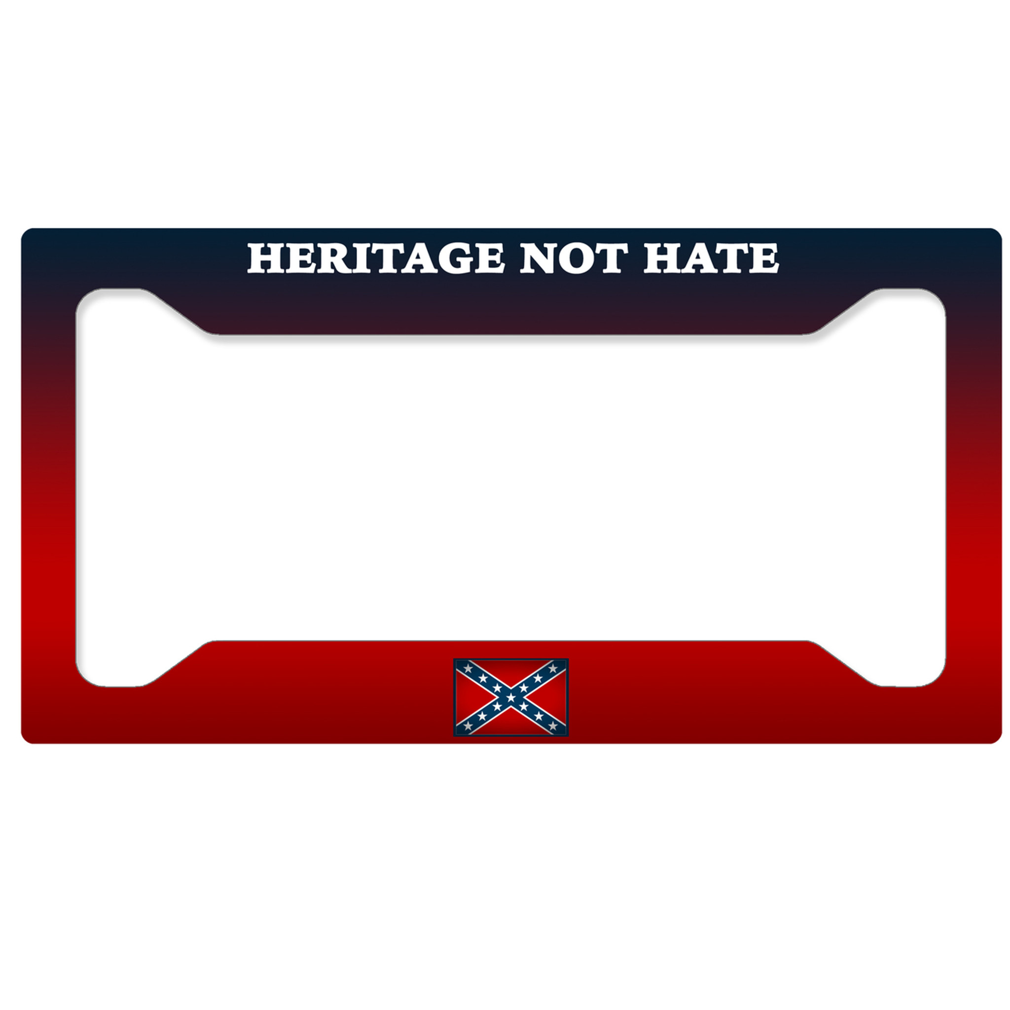 Aluminum License Plate Frame >> Rebel Flag License Plate Frame - Heritage Not Hate - SimplyCustomized