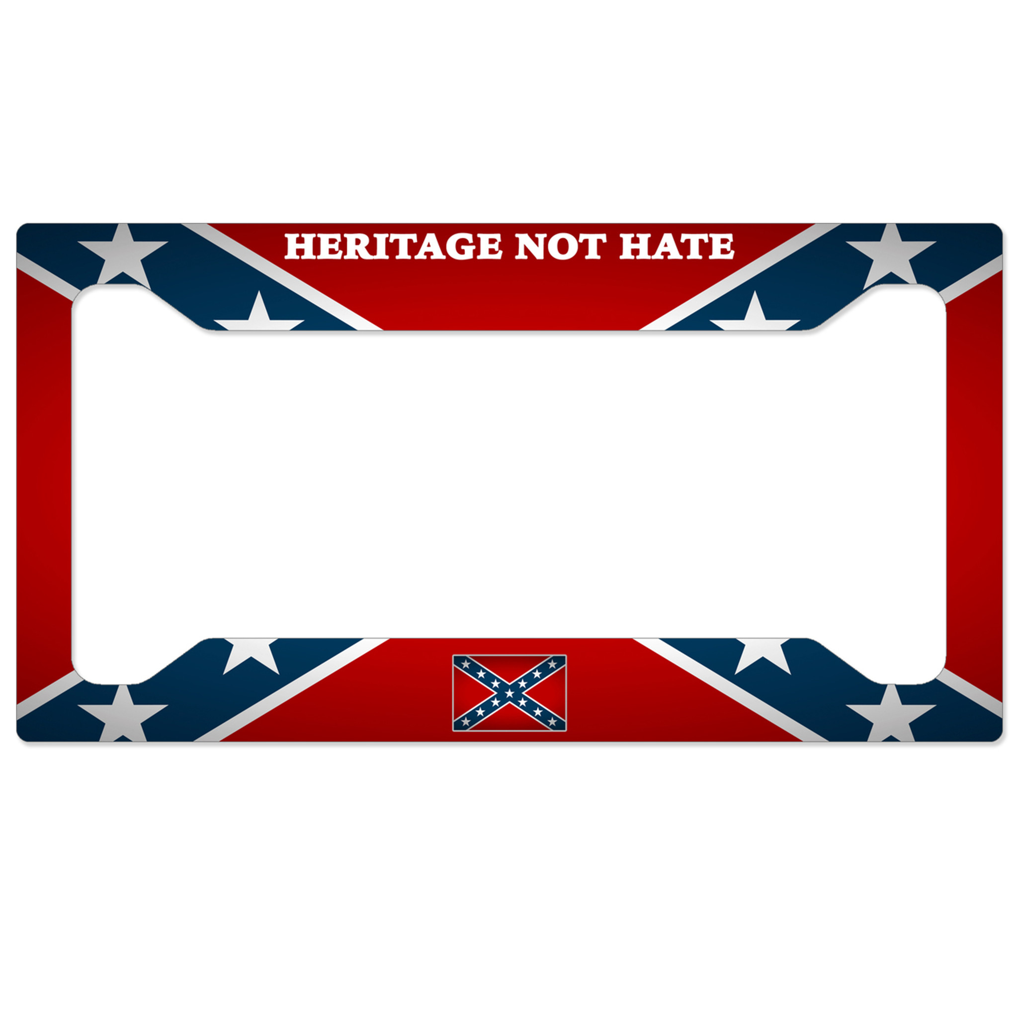 confederate flag license plate frame - heritage not hate