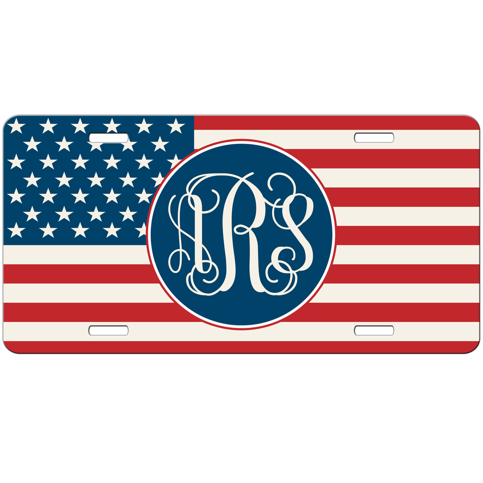 American Flag Monogrammed Car Tag - USA Personalized License Plate ...