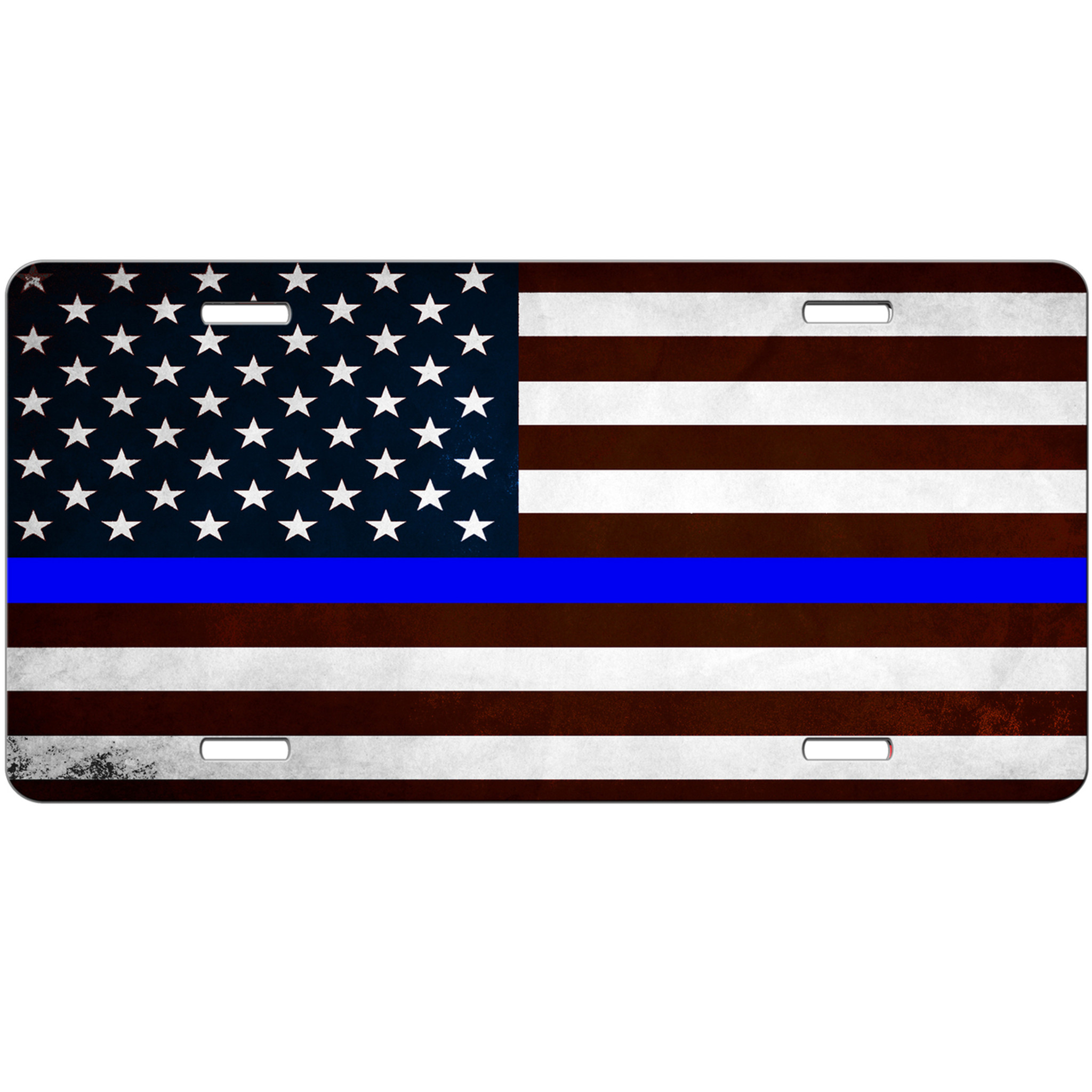 Thin Blue Line Distressed American Flag License Plate