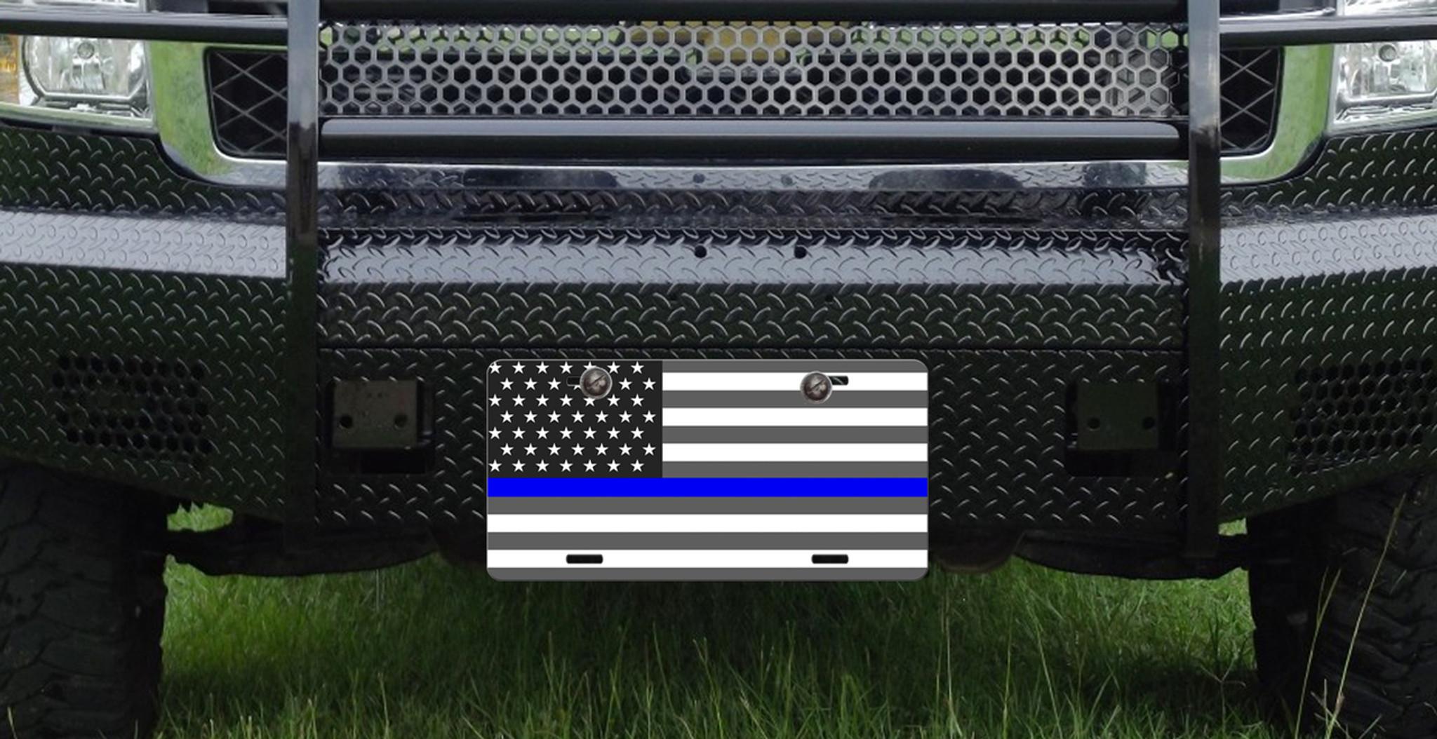 Thin Blue Line American Flag License Plate Car Tag