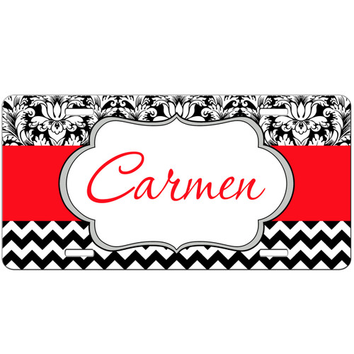 Monogrammed Car Tag - Damask Chevon Monogram