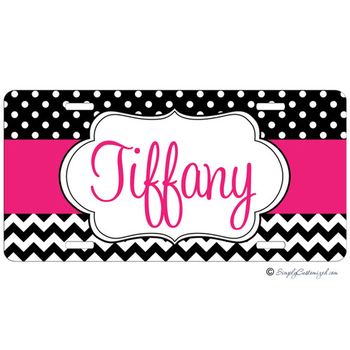 Monogrammed Car Tag - Dots and Chevrons Hot Pink