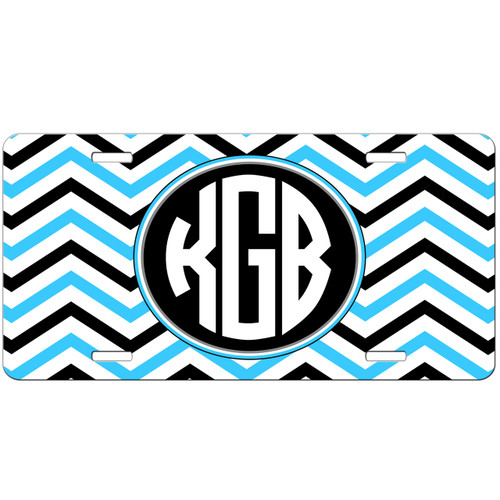 Monogrammed Car Tag - Tri Chevron Turquoise Grey White Monogram