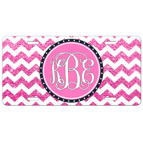 Monogrammed Car Tag - Hot Pink Glitter Chevron