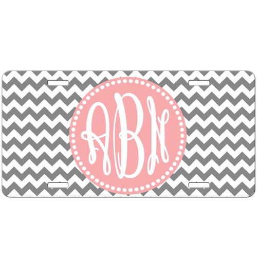 Monogrammed Car Tag - Chevrons Custom