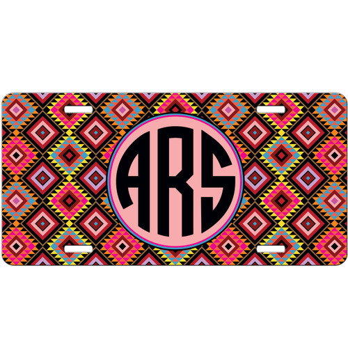 Monogrammed Car Tag - Colorful Aztec Diamonds