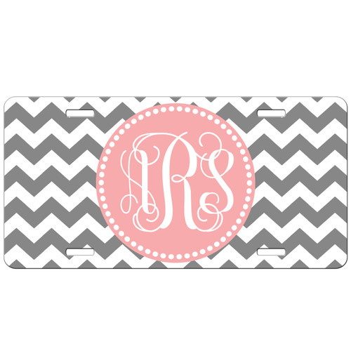 Monogrammed Car Tag - Thick Chevrons Custom