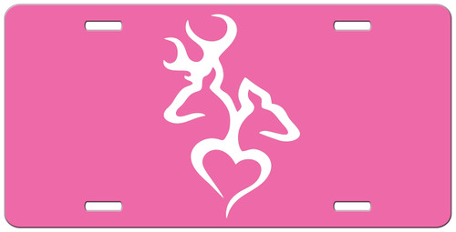 Buck and Doe Heart Hot Pink Custom License Plate