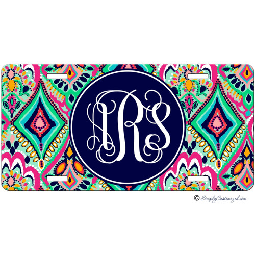Monogrammed Car Tag - Colorful Floral Jewels