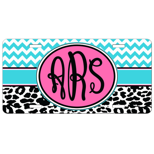 Monogrammed Car Tag - Chevron Cheetah Print Monogram