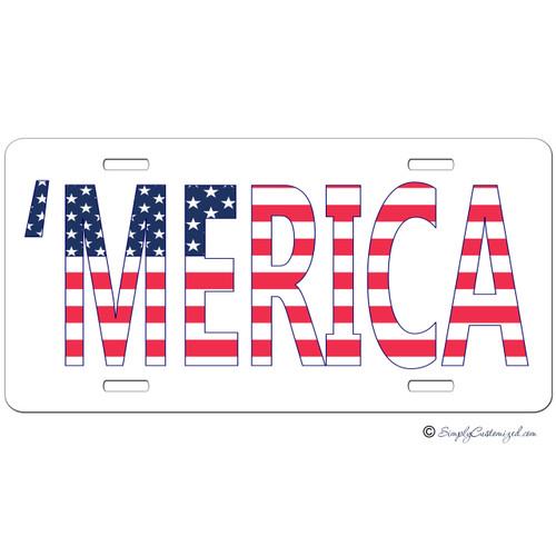 Merica Custom License Plate