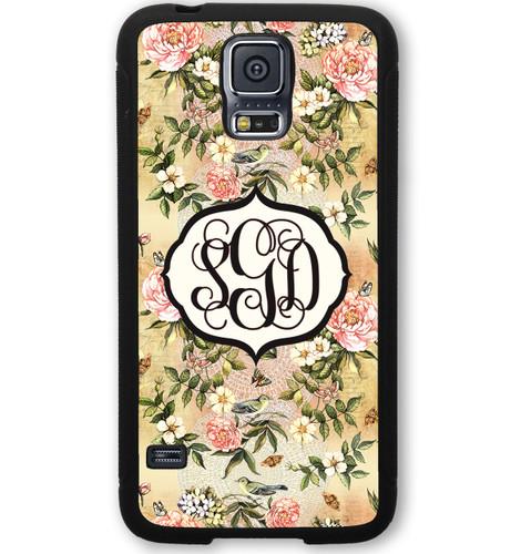 Monogrammed Samsung Case - Vintage Floral