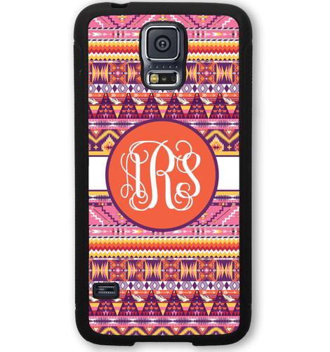 Monogrammed Samsung Case - Sunrise Aztec