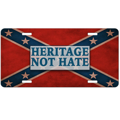Heritage Not Hate Rebel Flag Car Tag - Confederate License Plate