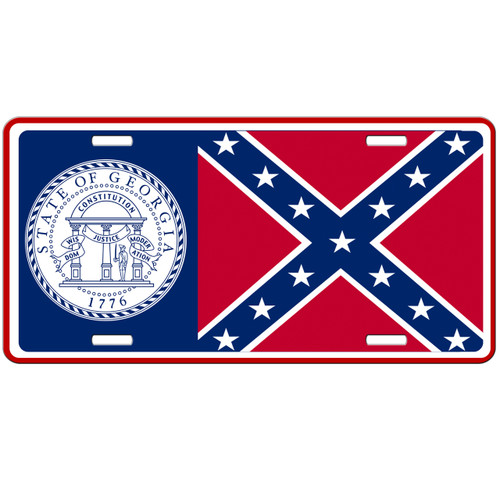 Georgia State Flag Confederate Car Tag - Rebel License Plate