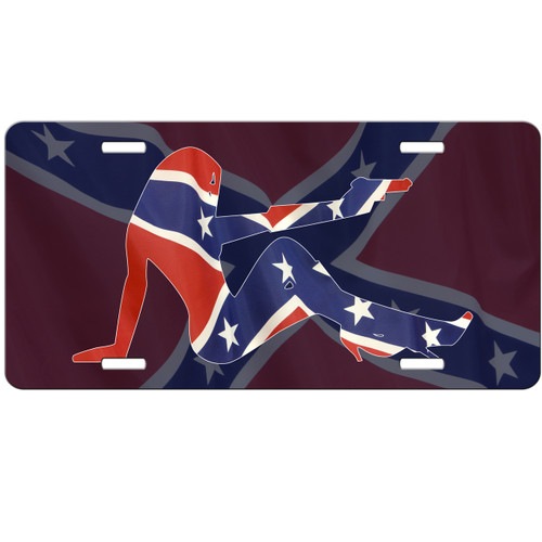 Sexy Girl Confederate Flag Car Tag - License Plate Rebel Flag