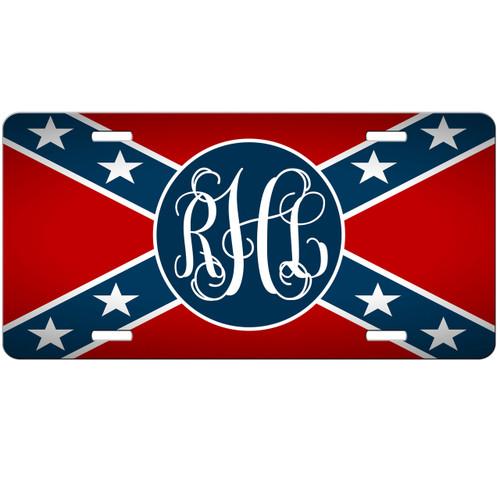 Rebel Flag Monogrammed Car Tag - Confederate Personalized License Plate Redneck