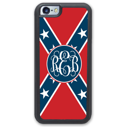 Rebel Flag iPhone Case Monogrammed - Confederate Flag Personalized