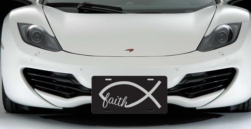 Faith Jesus Fish Custom License Plate - Christian Fish