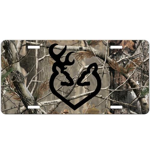 Camo Buck Doe Custom License Plate