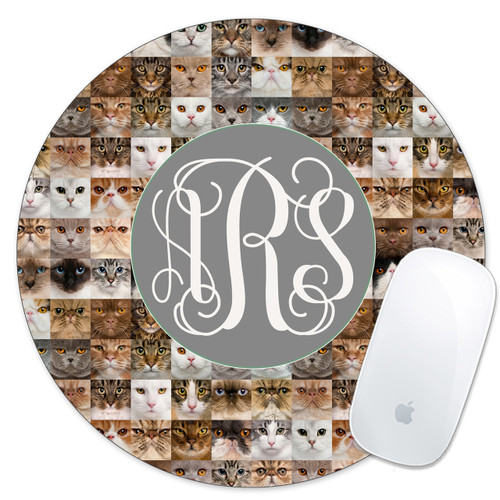 Monogrammed Mouse Pad Cats