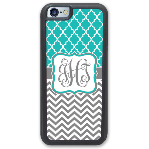 iPhone Case - Monogrammed - Pretty Teal Lattice & Chevrons