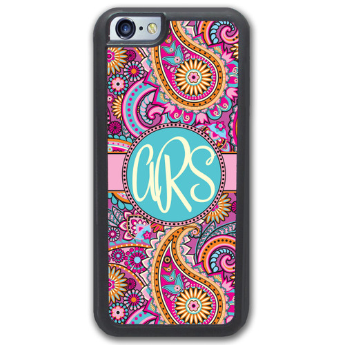 iPhone Case Monogrammed - Pink Paisley - SimplyCustomized.com