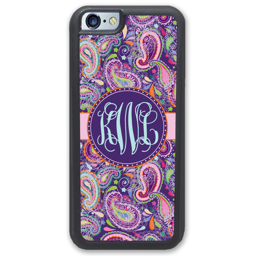 iPhone Case - Pretty Purple Paisley Monogrammed - SimplyCustomized.com
