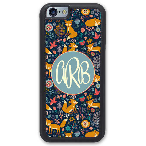 iPhone Case - Fox Floral Woods Monogrammed - SimplyCustomized.com
