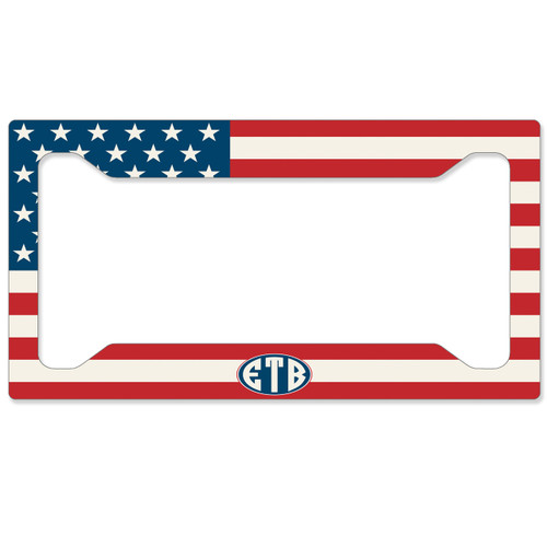 American Flag License Plate Frame - Monogrammed