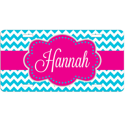 Monogrammed License Plate - Turquoise Chevrons With Hot Pink