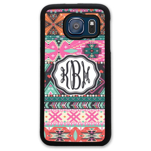 Monogrammed Samsung Case - Pink Aztec Hipster Tribal