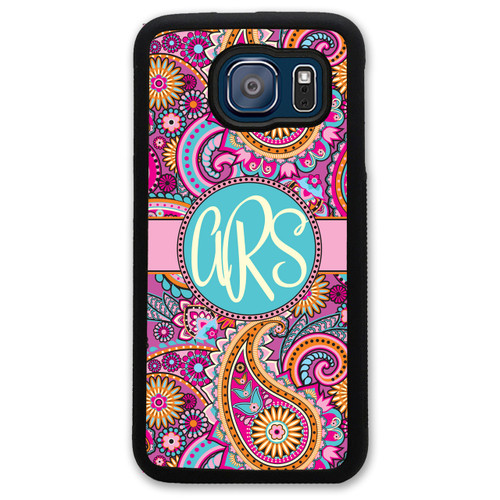 Monogrammed Samsung Case - Pink Paisley