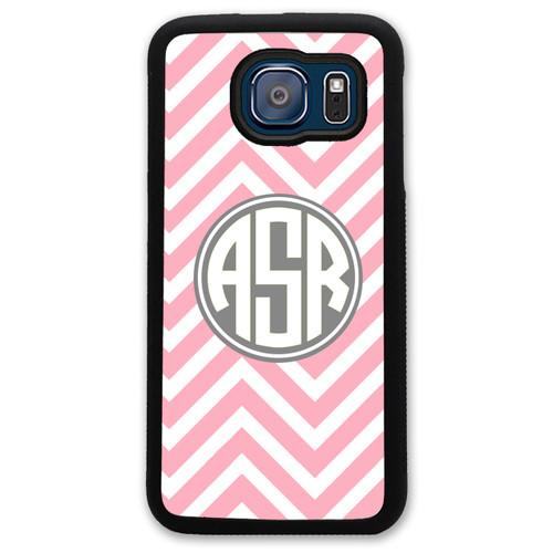 Monogrammed Samsung Case - Pink Chevrons