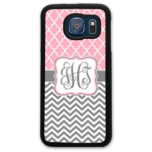 Monogrammed Samsung Case - Pink Lattice Grey Chevrons