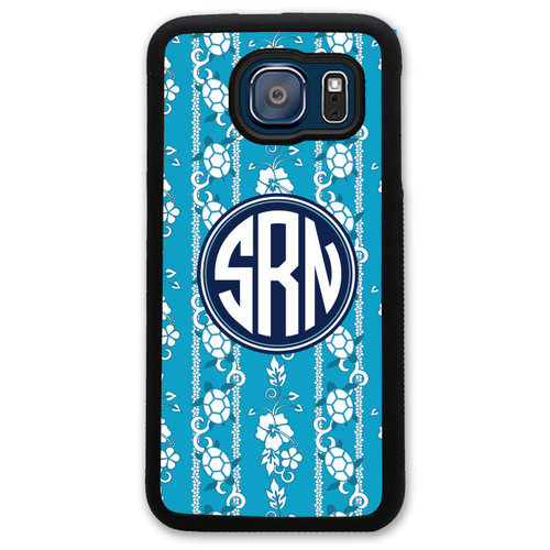 Monogrammed Samsung Case - Turquoise Floral Flowers & Turtles