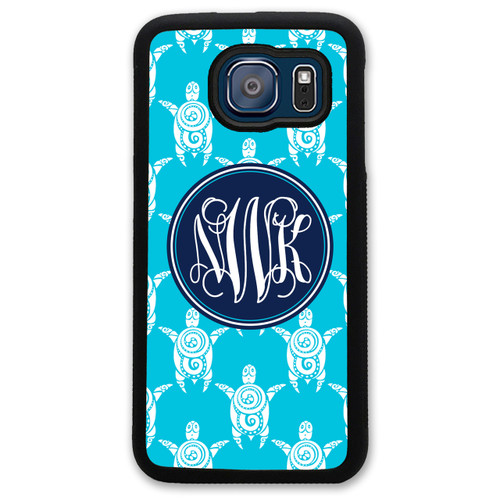 Monogrammed Samsung Case - Turquoise Turtles