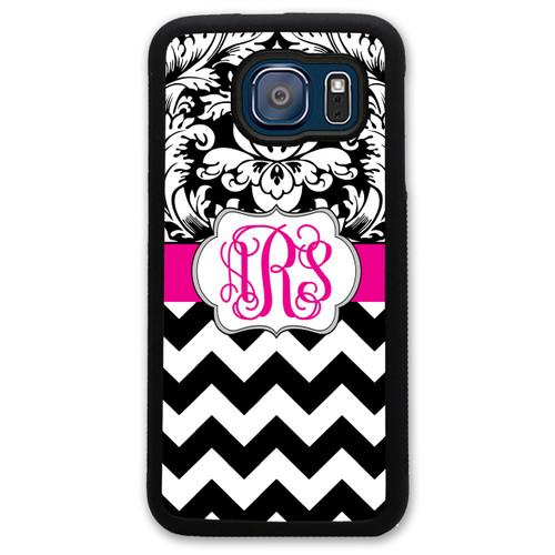 Monogrammed Samsung Case - Black Damask Hot Pink