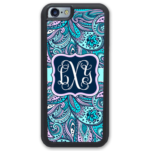 iPhone Case - Blue Pink Paisley Monogrammed