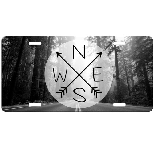 Wander Compass Arrows Open Road Travel Wanderlust Trees License Plate - Car Tag Vanity Plate