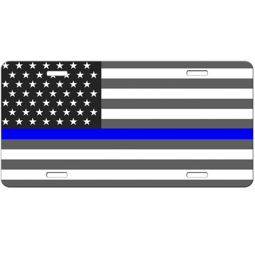 Thin Blue Line American Flag License Plate - Car Tag Vanity Plate Thin Blue Line Police Support
