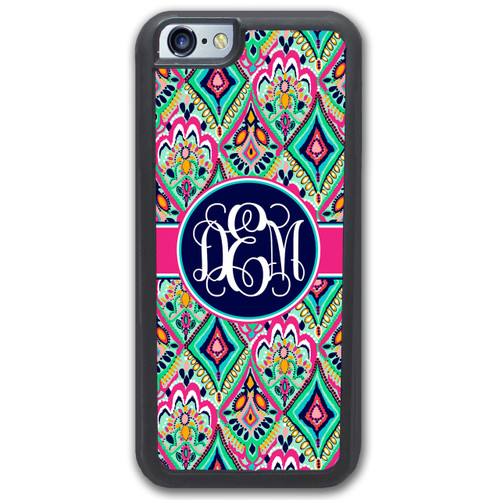 Monogrammed iPhone Case - Pretty Colorful Jewels Navy