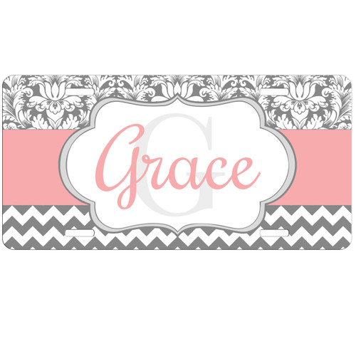 Monogrammed Car Tag - Pink Accent Silver Damask Chevron