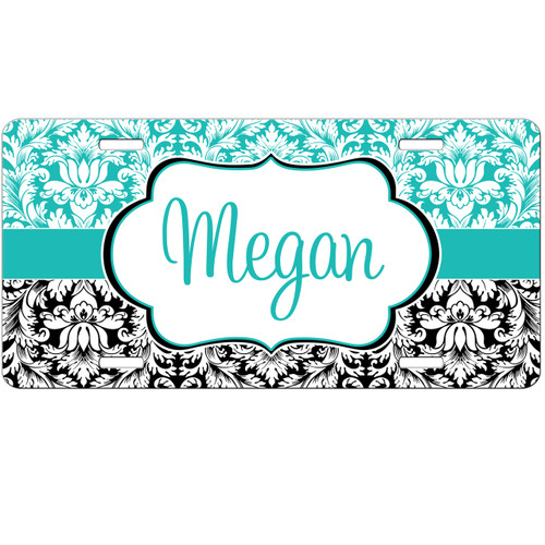 Monogrammed Car Tag - Teal and Black Damask