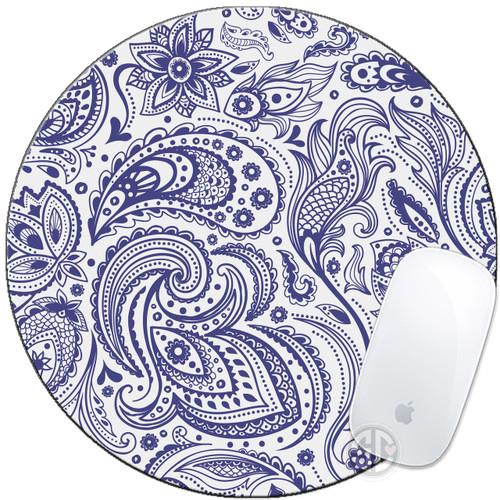 Mouse Pad Indigo Blue Paisley Mousepad