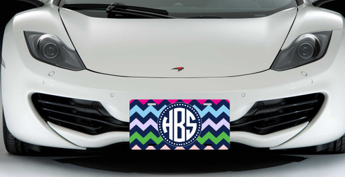 Monogrammed Car Tag - Colorful Chevrons